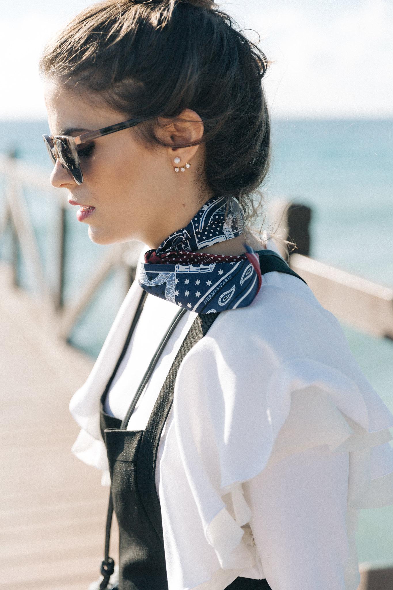 Jessie Chanes Seams for a desire - black jumpsuit ruffled white top abbacino marbella club -9