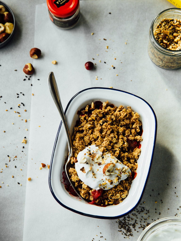 Dukkah + fall fruit crisp