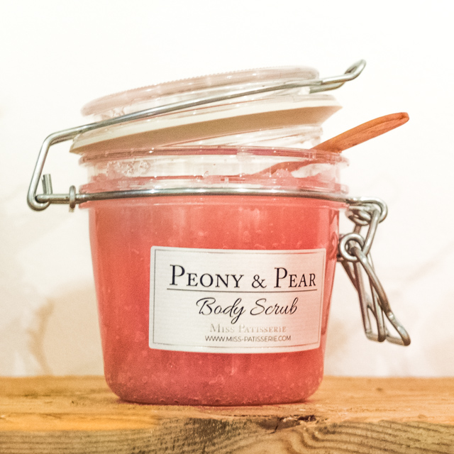 pink peony and pear body scrub