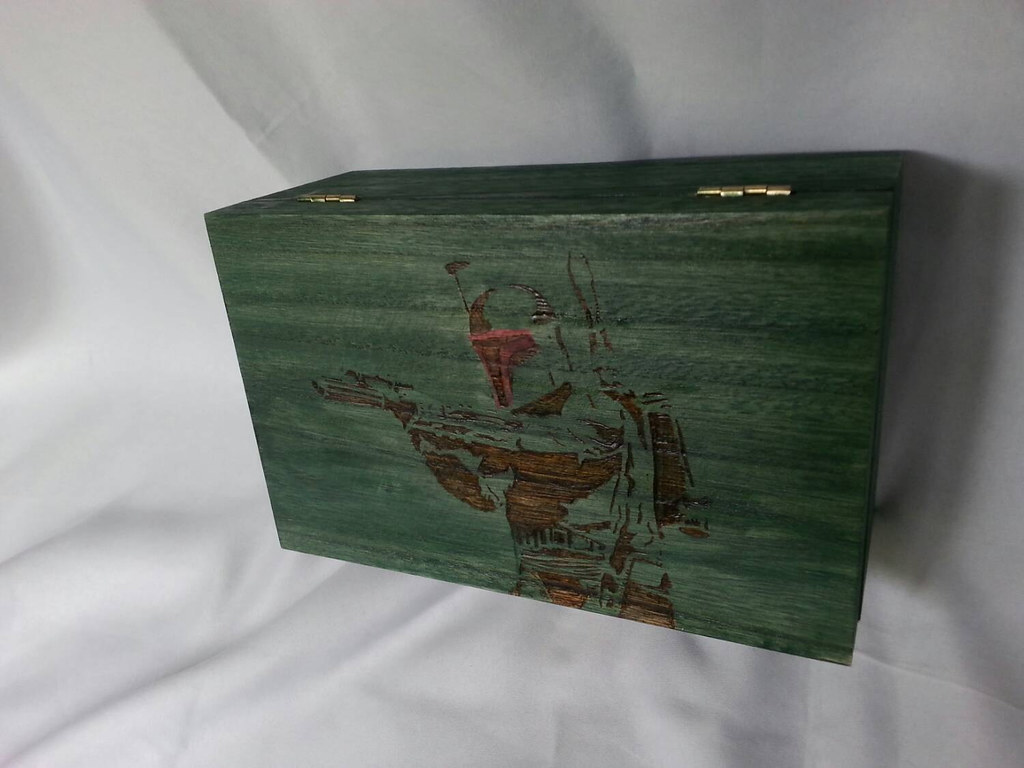 Star Wars Boba Fett woodburned keepsake box by Kathleen Kaderabek