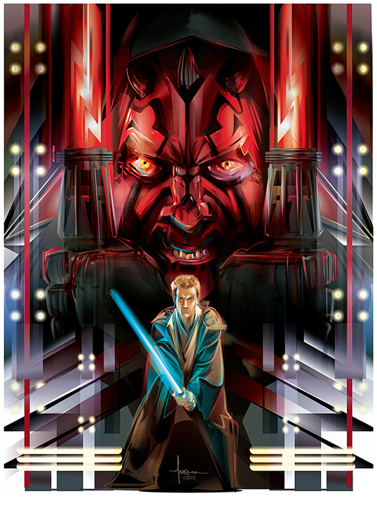 Star Wars: Adversaries By Orlando Arocena - Darth Maul vs Obi Wan Kenobi