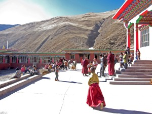 Gesar Fund 2015 - SURMANG shedra-plaza-with-young-monks-and-children