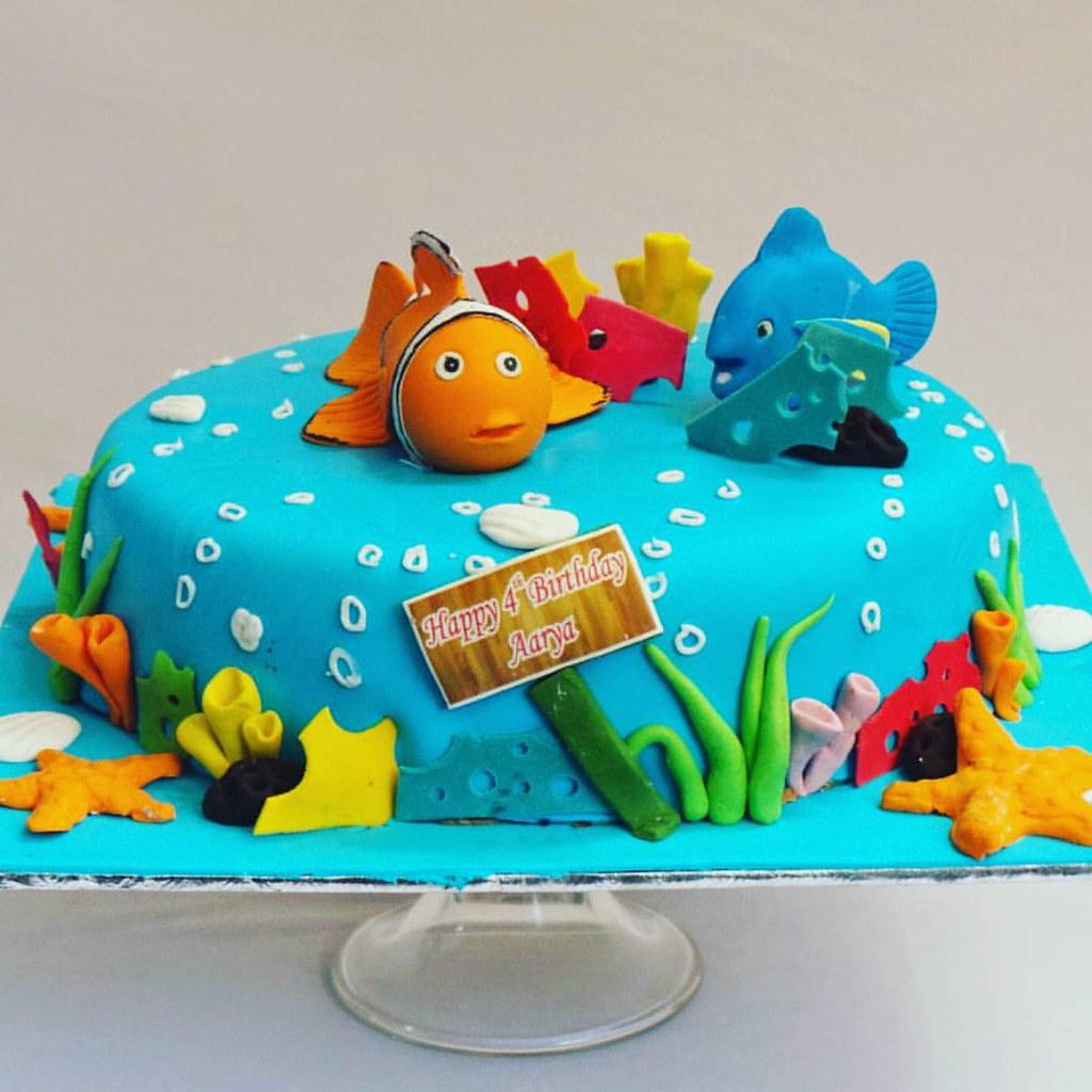 Nemo Aqua Marine Themed Fondant Covered Cake Ibca Ibcab