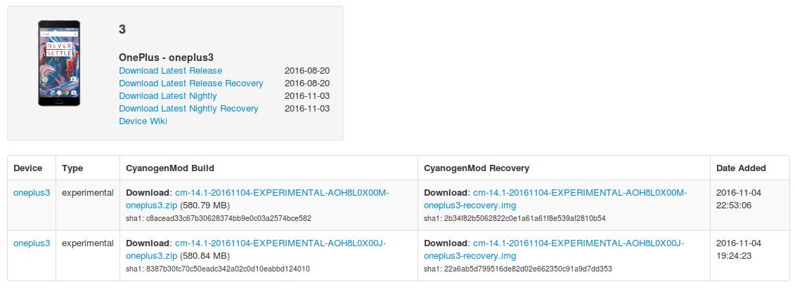 "CM14.1 ""experimental"" buildek OnePlus 3-hoz"
