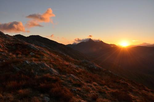 Sunrise behind Sgurr na Ciche viewed from Beinn Bhuidhe