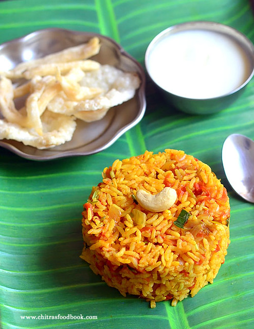 Tomato rice recipe - Thakkali sadam in cooker