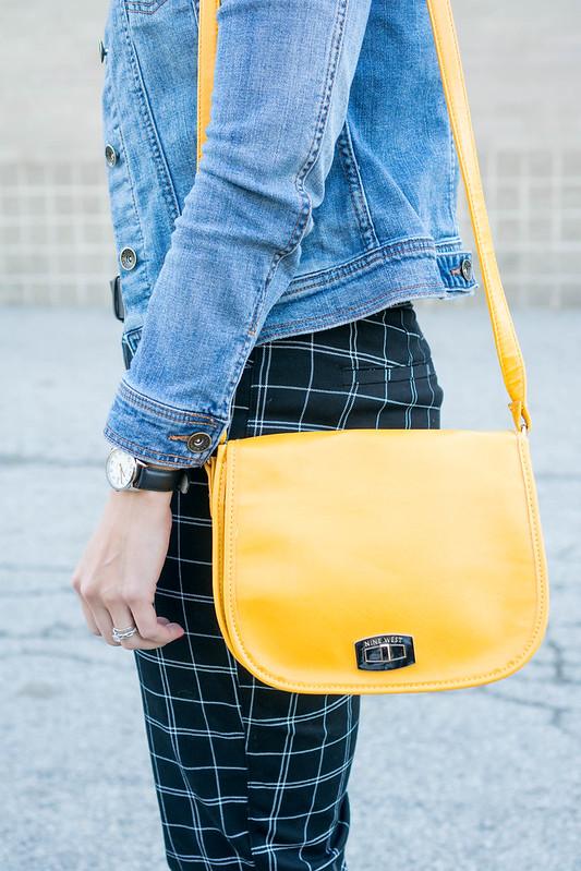 black tee + black grid print pants Old Navy + denim jacket + yellow purse + superga sneakers   Style On Target blog