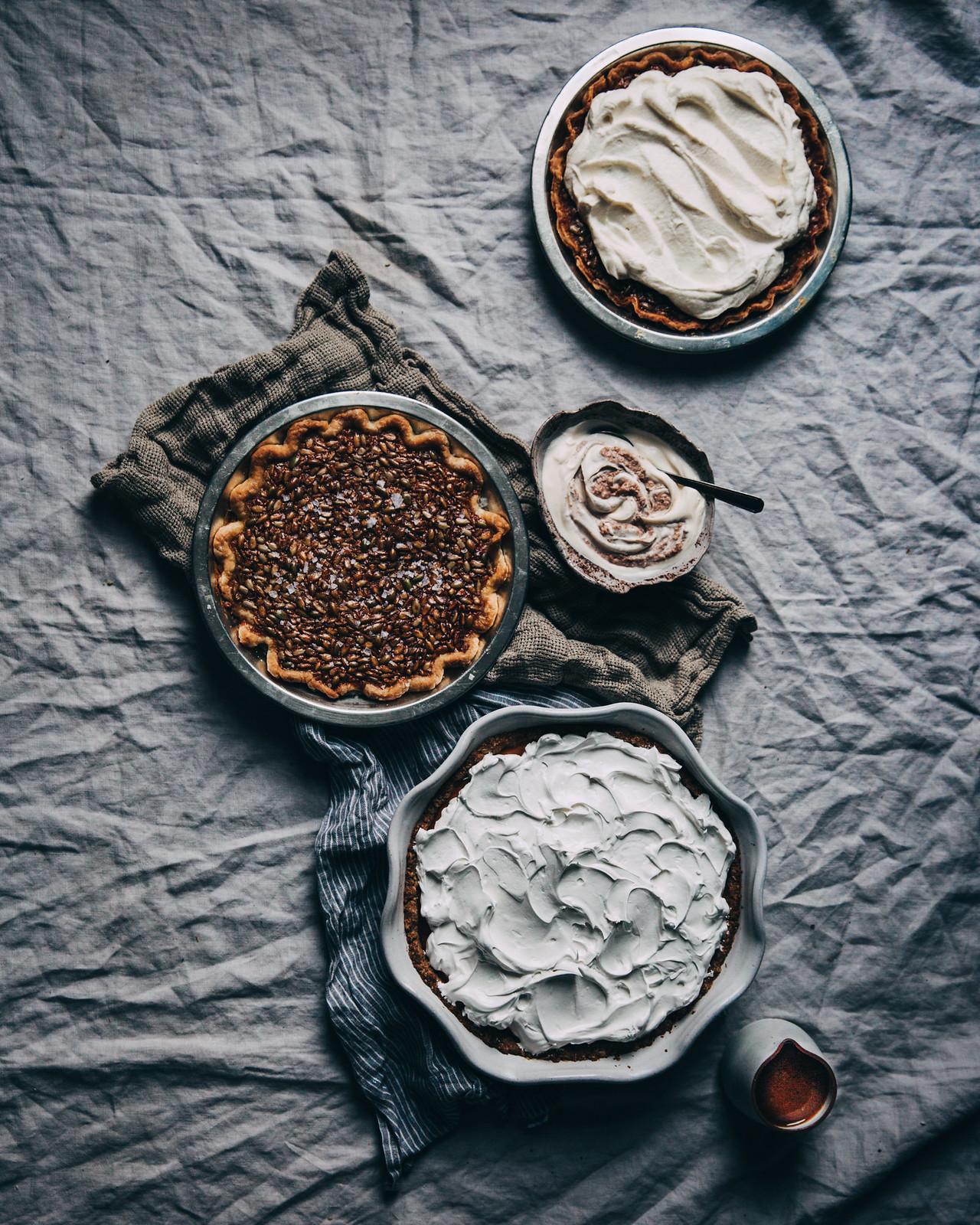 Sweet Potato Meringue Pie with Salted Pecan Crème Fraîche & Burnt Miso Butterscotch