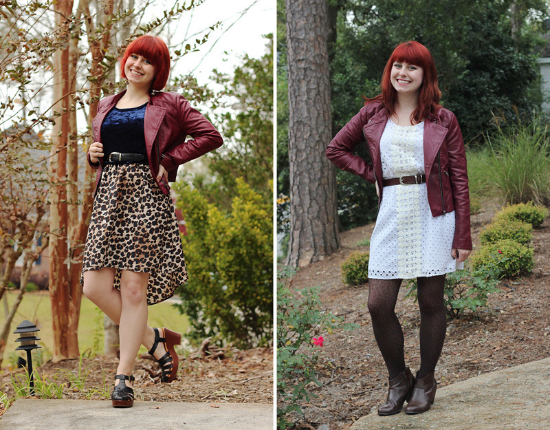 Remixing a dark red faux leather moto jacket from Forever 21
