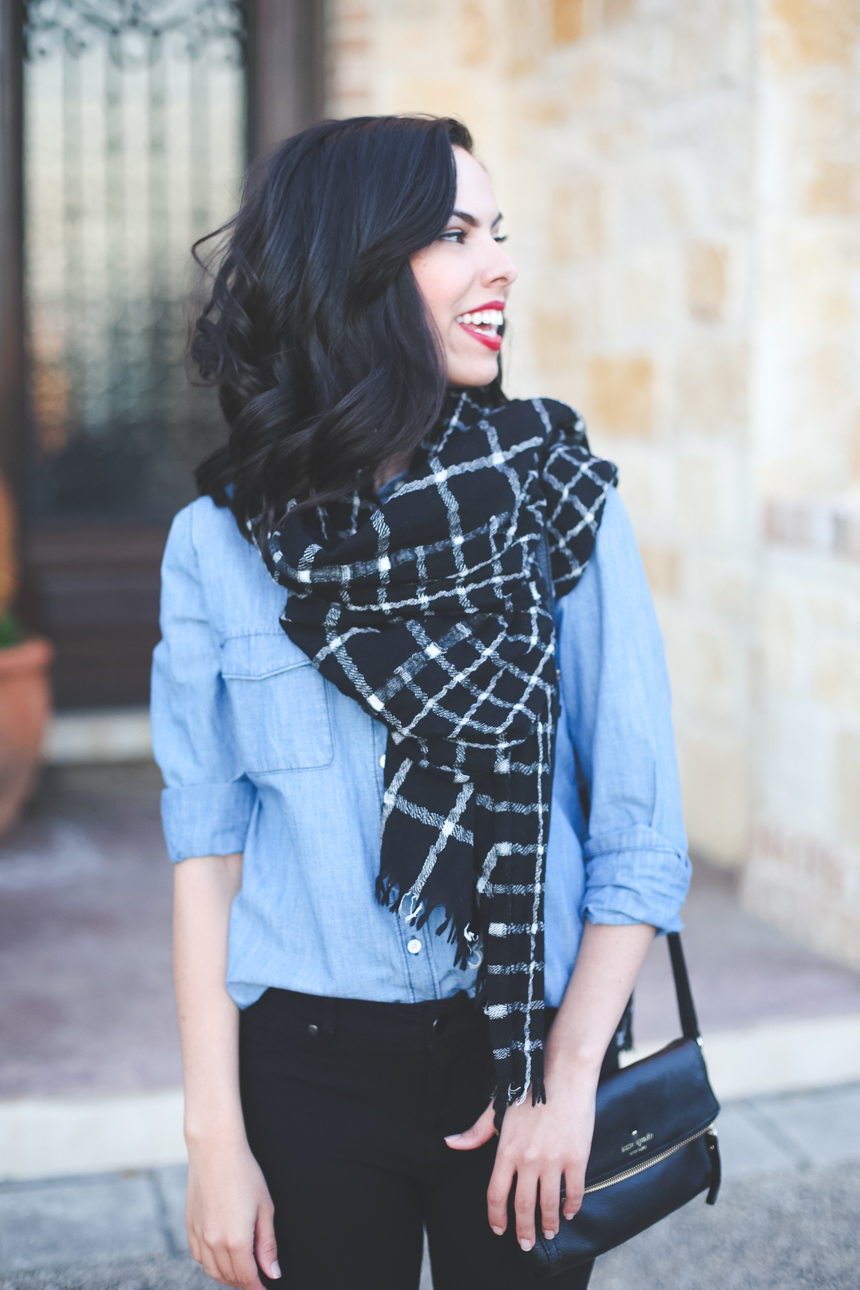austin texas, austin fashion blog, austin fashion blogger, austin fashion, austin fashion blog, pinterest outfit, chambray shirt, austin style, austin style blog, austin style blogger, austin style bloggers, style bloggers, grid print, grid print scarf, grid scarf