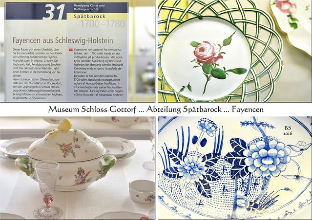 """Landesmuseum für Kunst und Kulturgeschichte in Schloss Gottorf (Schleswig). Fayencen aus Schleswig-Holstein (Abteilung """"Spätbarock"""") ... Fotos und Collage: Brigitte Stolle 2016"""