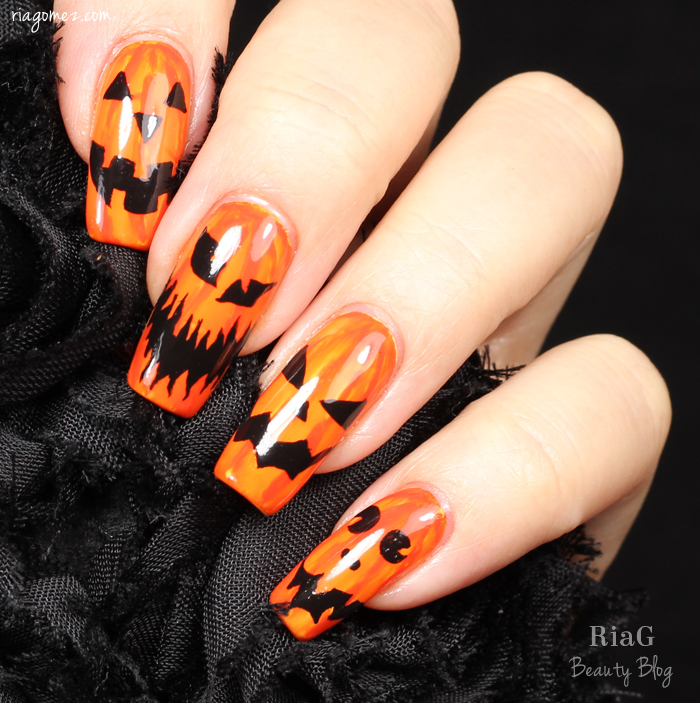 HPB Presents – Halloween Jack-o\'-lantern nails – Ria G – Beauty Blog