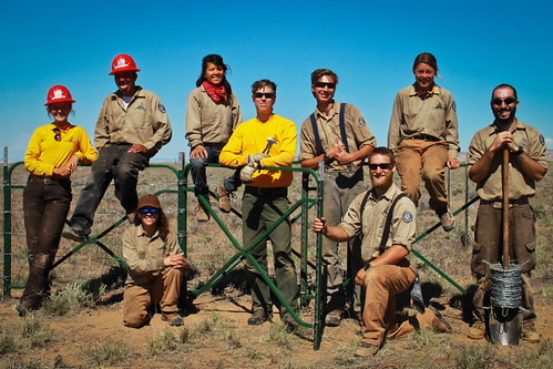 A group of Canyon Country Youth Corps from the Four Corners School of Outdoor Education after a day of stringing fenceline