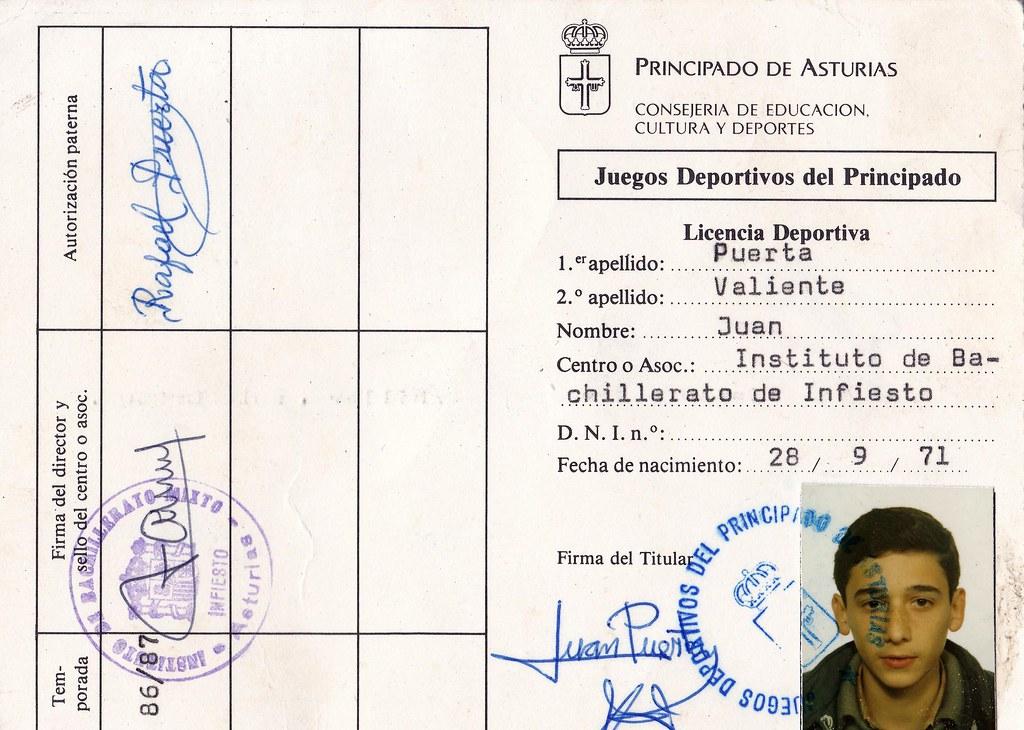 Licencia deportiva de Juan. Foto 012.