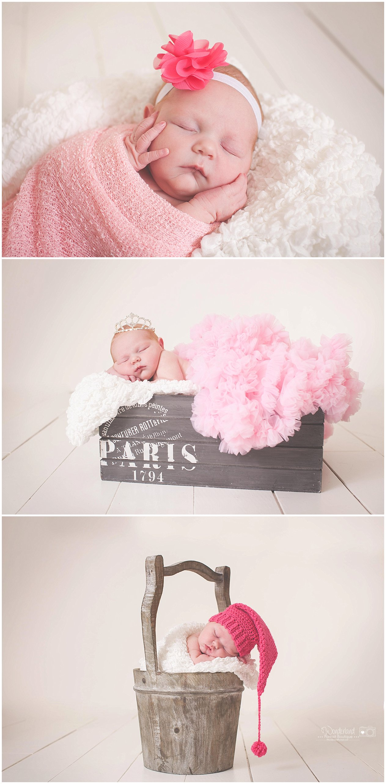 Baby in a Bucket Pose, Petti Skirt, Hands on Face Newborn Pose  Abington PA Newborn Photography | WonderlandPortrait.com