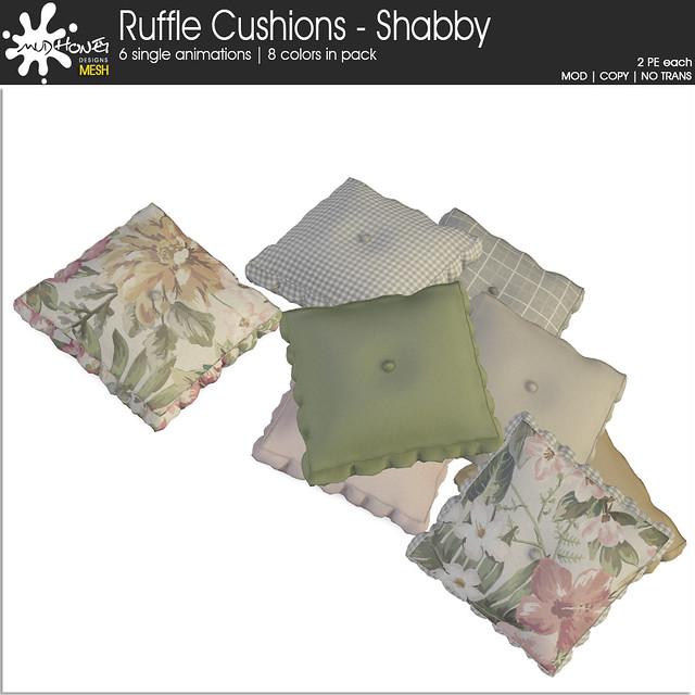 Mudhoney Ruffle Cushions - Shabby