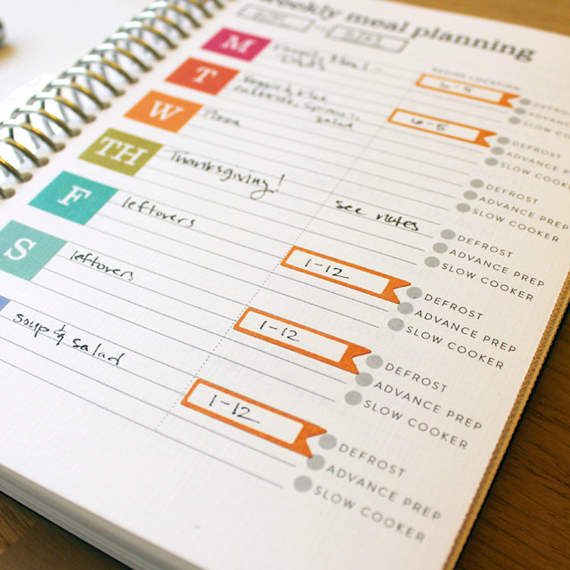Meal Planner Review Schedule Tabs Close Up