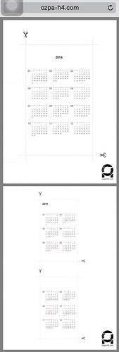 手帳用カレンダー