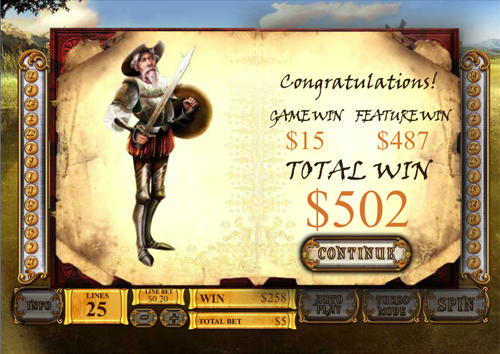 free The Riches of Don Quixote bonus feature win