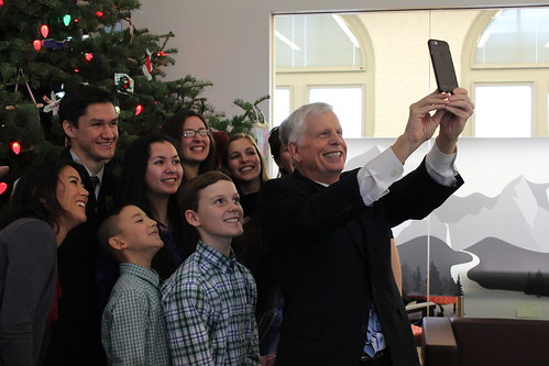 Chugach Children's Forest alumni and their mentors taking a selfie with U.S. Forest Service Chief Tom Tidwell