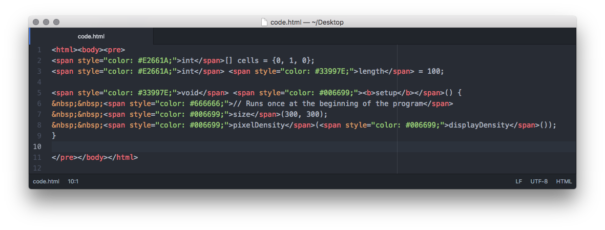 HTML code on Atom for macOS.