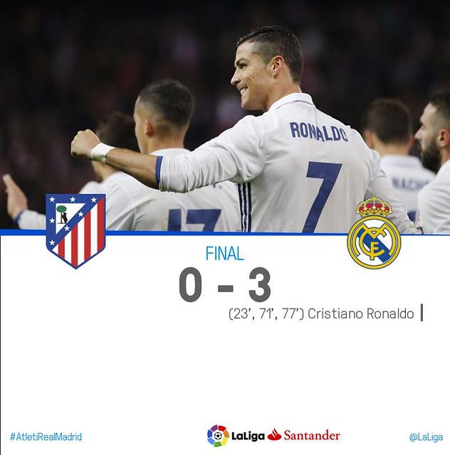 La Liga (Jornada 12): Atlético de Madrid 0 - Real Madrid 3