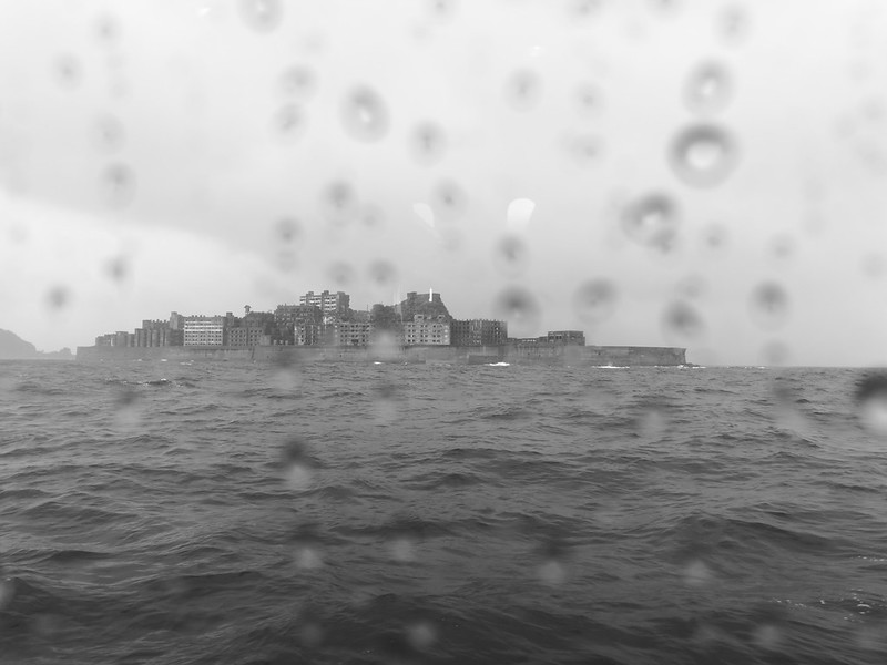 'Battleship' Hashima. It looked like one from this perspective. Because of the storm we can't get on the island.