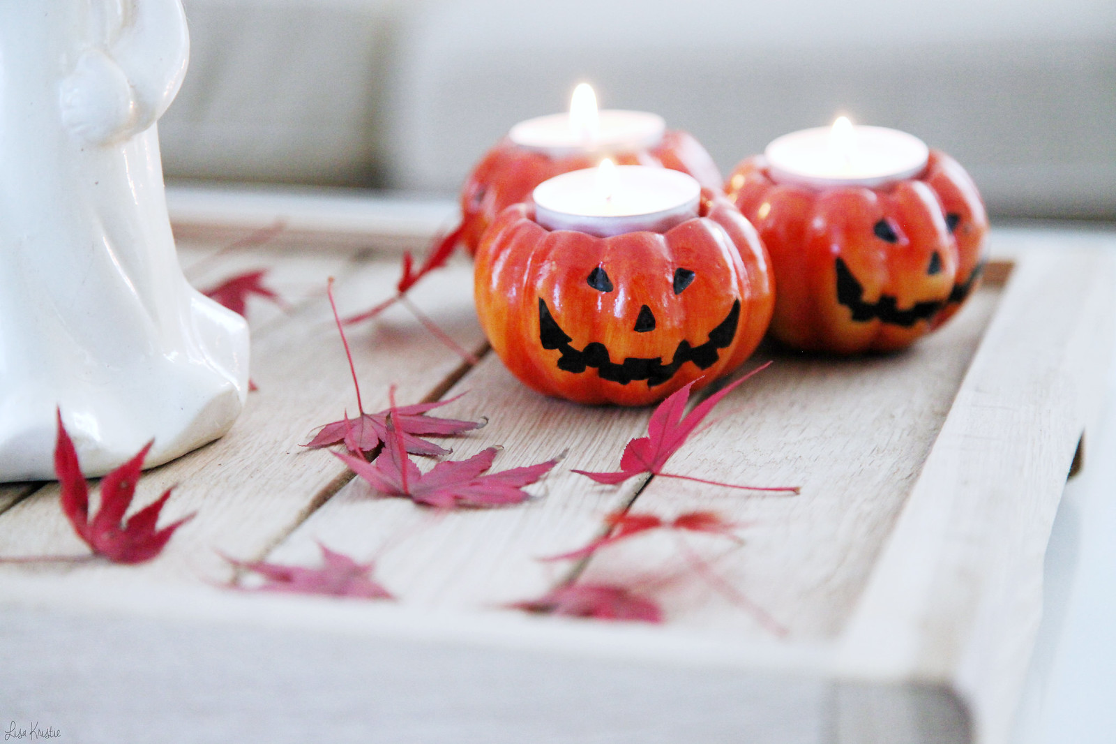 Halloween pumpkin tea light holders candles tray real leaves decoration home interior fall thanksgiving house decor