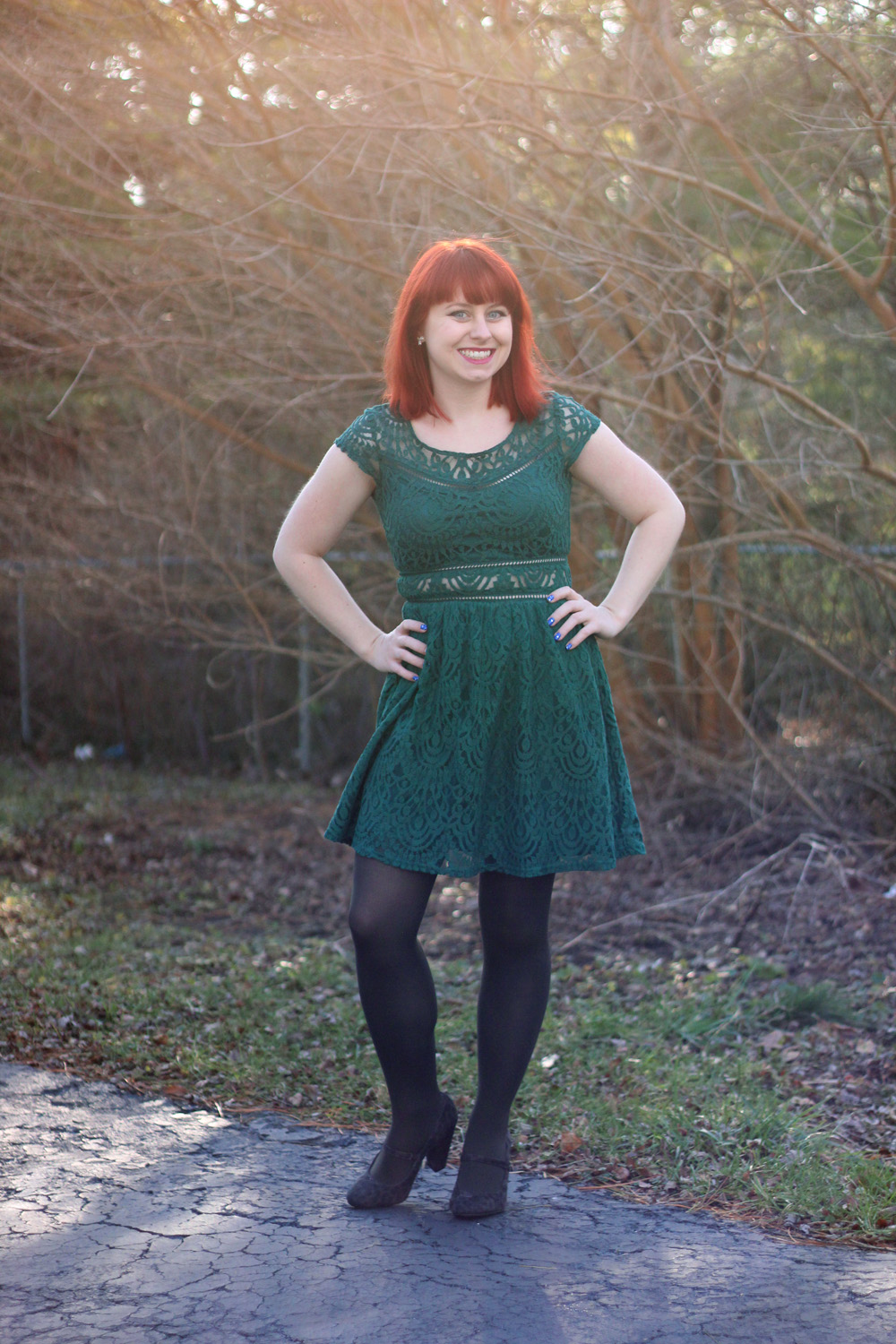 Dark Green Lace H&M Dress with Sheer Waist, Dark Gray Tights, and Gray Leopard Print Rounded Heels