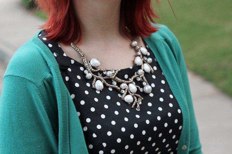 Tree Branch and Pearl Statement Necklace with a Polka Dot Dress and Blue Green Cardigan