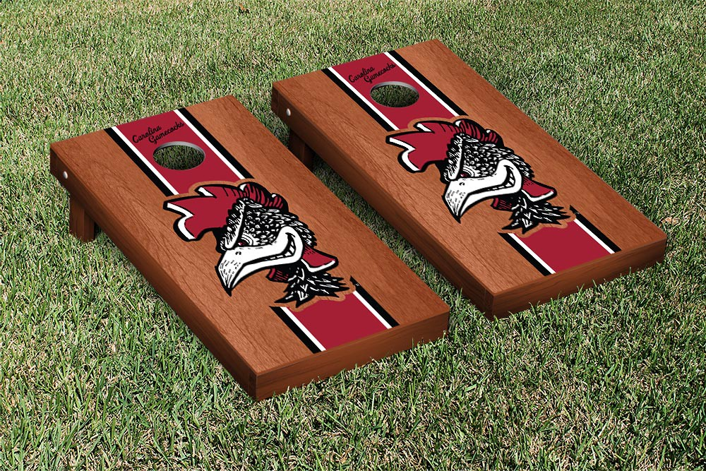 South Carolina College Vault Gamecocks Cornhole Game Rosewood Stained Stripe Version
