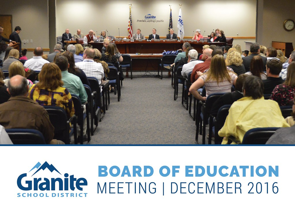 Patrons gathered at board meeting with text 'Board of Education Meeting | December 2016'