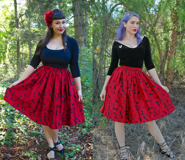 darling dames skirt pinup girl clothing fetish print