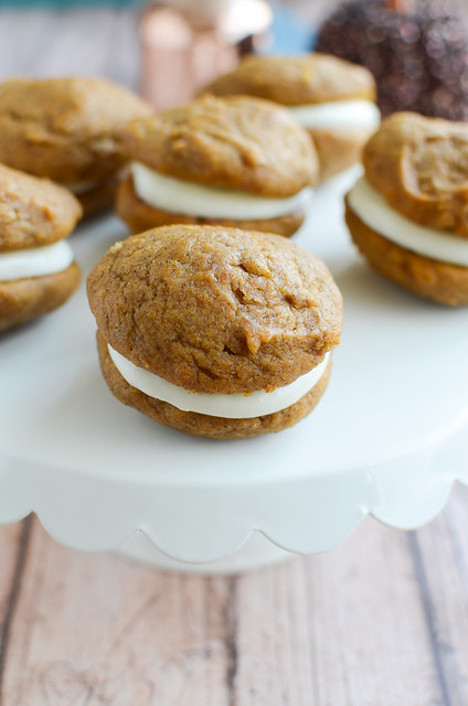 Pumpkin Whoopie Pies with Marshmallow Cream Cheese Frosting