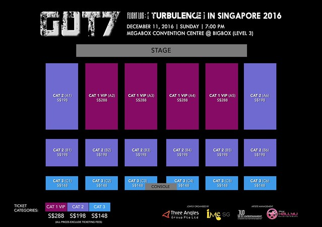 "GOT7 ""Flight Log TURBULENCE"" In Singapore 2016 Seating Plan"
