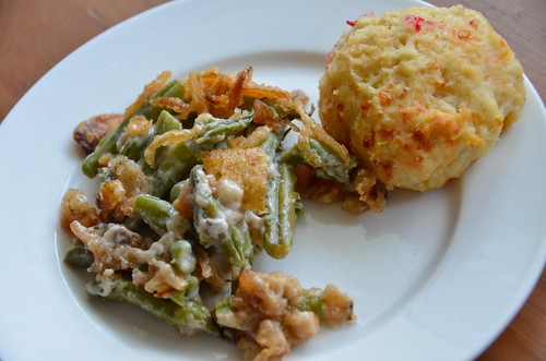 Green Bean Casserole with Cheddar Biscuit