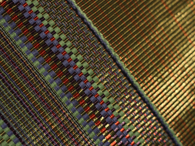 Lacquered copper thread incorporated into textile weaving, from Learning From Japan exhibition at Design Museum Denmark
