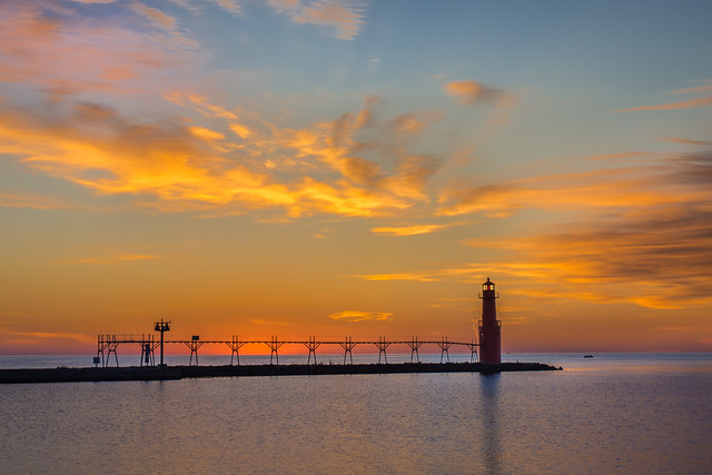 Lighthouse, Algoma, Sunrise, Sunset, Wisconsin, Beauty, Landscape