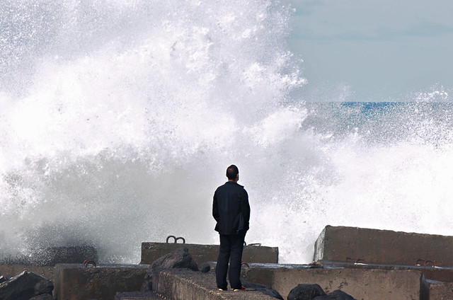 Man and waves, Puerto de la Cruz, Tenerife