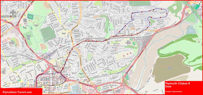 2016 12 04 Plymouth Citybus Route-008 Map.jpg