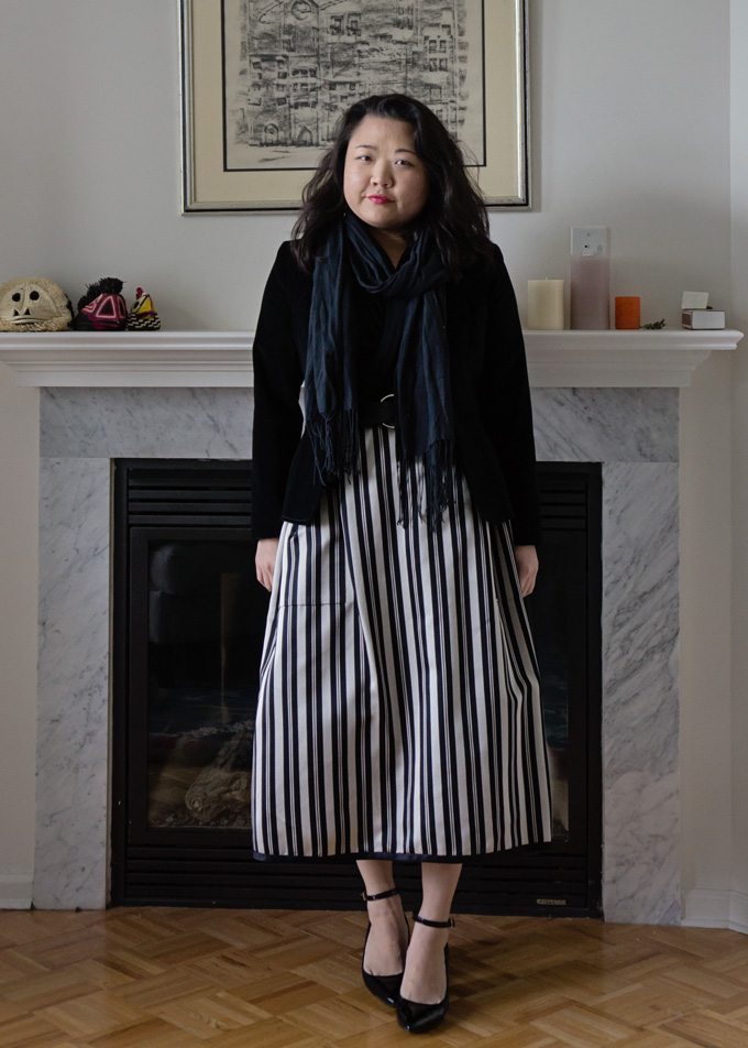 striped skirt blazer and scarf
