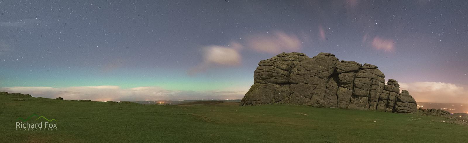 Haytor Aurora - 3 shot panorama