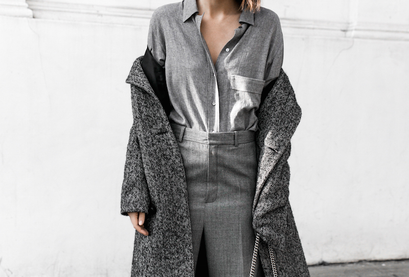 all grey texture outfit inspo RAEY MatchesFashion.com coat sneakers street style modern legacy fashion blogger monochrome minimal (9 of 13)