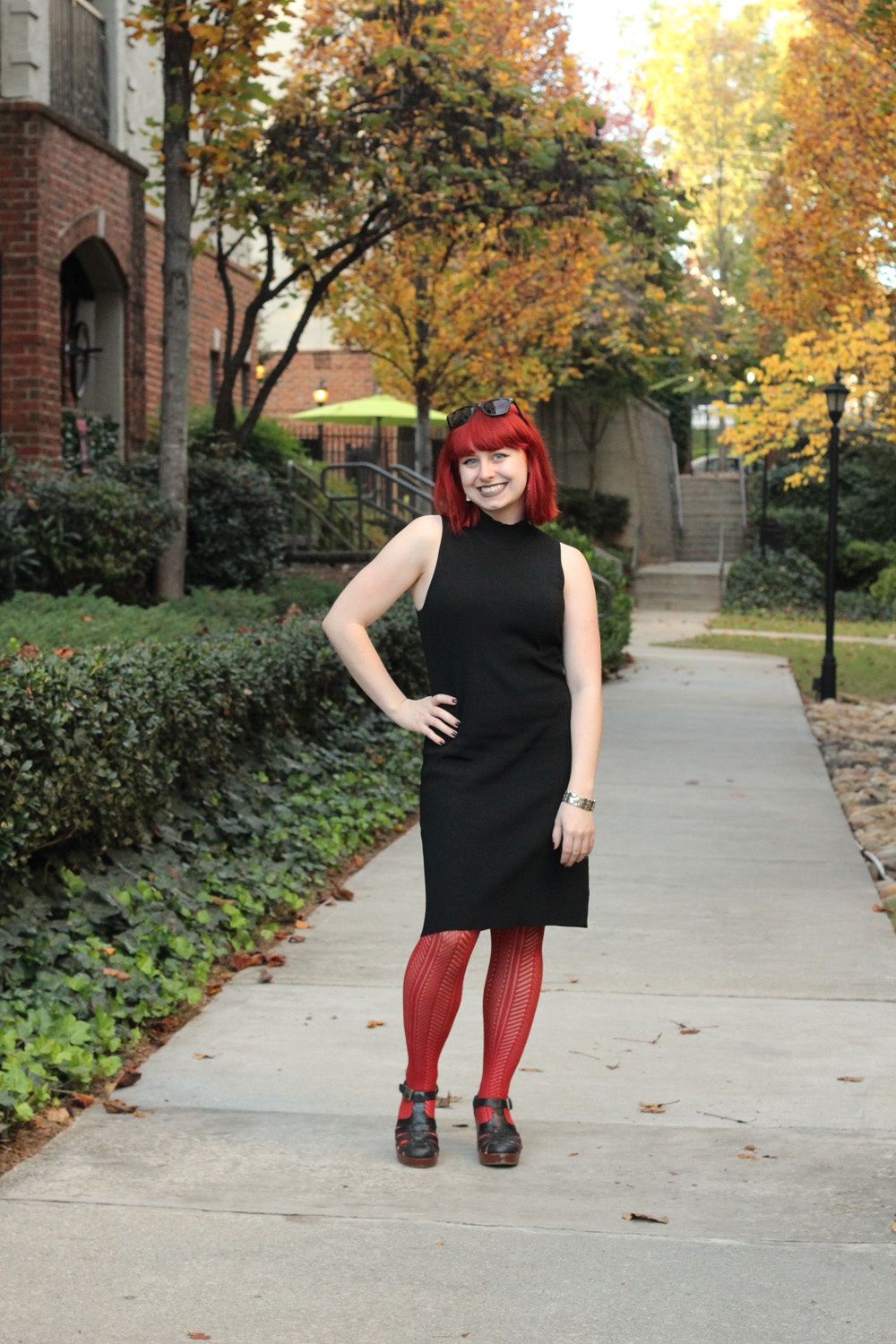 Fall Outfit: Black Ribbed Mock Neck Dress with Rust Orange Patterned Tights