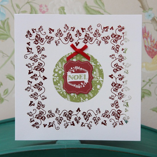 Docrafts Folk Christmas card - Noel filigree die cut ivy card. Made by StickerKitten.