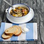 Steckrüben-Suppe mit Graupen, Kasseler und Backpflaumen