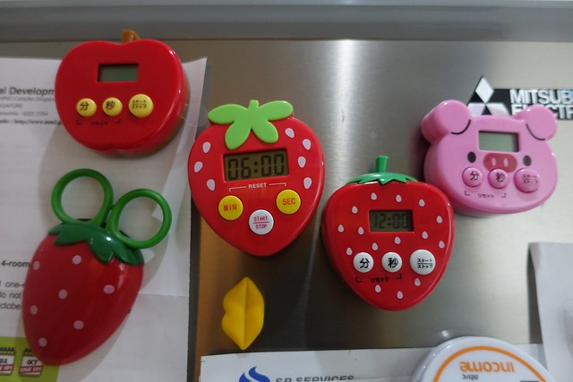 Cute Daiso Kitchen Timers on my fridge.
