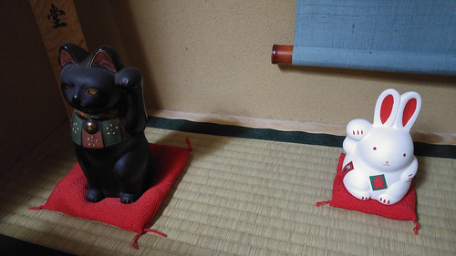 Japanese house animal deities cat and rabbit