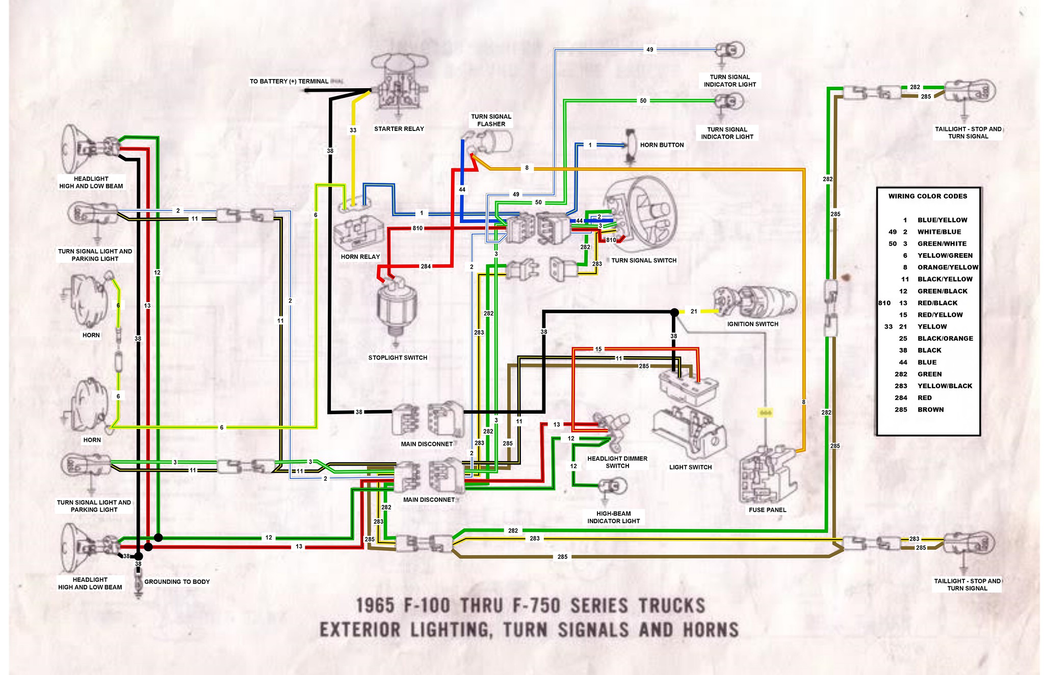 65 F100 thru F750 exterior wiring diagram - Ford Truck Enthusiasts ...