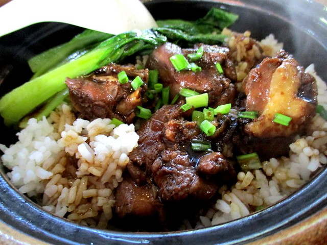 Claypot rice with chicken and salted fish